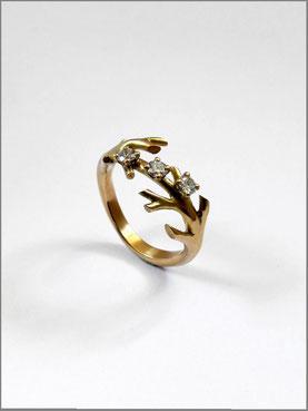 Bague de fiançailles branchages - or jaune et diamants - Nelly Chemin