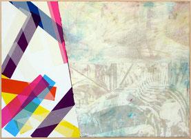 Nouvelle série d'oeuvres de l'artiste Laurent Valera en peinture et collage d'adhésif.