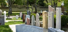 Blick in die Grabsteinausstellung