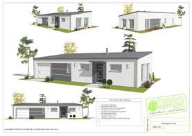 maison moderne de plain pied avec toit monopente et enduit bicolore gris clair et blanc