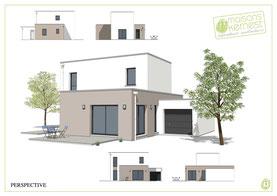 maison moderne à étage avec toit terrasse et enduit bicolore marron clair et blanc cassé