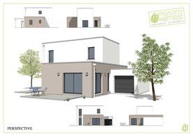maison moderne à étage avec toit terrasse et enduit bicolore blanc et marron clair