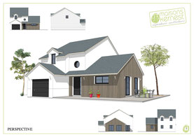 maison à étage contemporaine avec bardage bois et enduit blanc