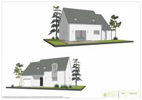 maison traditionnelle de plain pied avec enduit bicolore gris clair et blanc