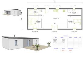maison moderne plain pied rectangulaire avec toit monopente et enduit dégradé de gris