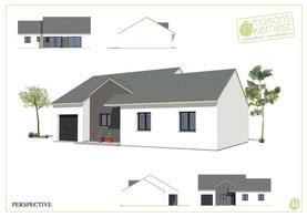 maison plain pied traditionnelle avec enduit bicolore gris foncé et blanc