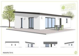 maison rectangulaire moderne avec toit monopente en bac acier et enduit blanc