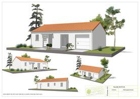 maison plain pied deux chambres avec enduit blanc, tuile orange pour la couverture et garage intégré