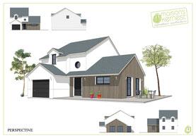maison contemporaine avec bardage bois et enduit blanc avec un étage