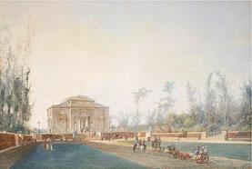 Louis Bélanger,  Vue du pavillon de Bagatelle (bois de Boulogne) , vers 1785 (commerce de l'art) / in article cité