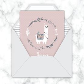 faire-part naissance fille numérique animé-faire part naissance digital-faire-part digital -format carré -faire-part à envoyer par mms-par mail-réseaux sociaux-whatsapp-facebook- lama couronne-tipi-oiseau
