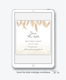 Save the date mariage numérique-Save the date mariage digital-Save the date numérique-pdf numérique-Save the date mariage electronique -Save the date à envoyer par mms-par mail-réseaux sociaux-whatsapp-facebook-messenger-pampas-paillette-format carré