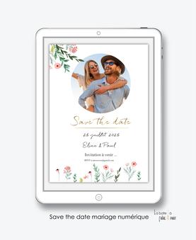 Save the date mariage numérique-Save the date mariage digital-Save the date numérique-pdf numérique-Save the date mariage electronique -Save the date à envoyer par mms-par mail-réseaux sociaux-whatsapp-facebook-messenger-bouquet de fleurs pastel-champêtre