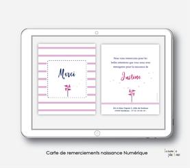 Carte de remerciements naissance fille numérique-carte de remerciements fille électronique-digital-moulin à vent-à imprimer soi même-carte de remerciement à envoyer par mail, mms et réseau sociaux