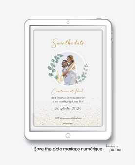 Save the date mariage numérique-Save the date mariage digital-Save the date numérique-pdf numérique-Save the date mariage electronique -Save the date à envoyer par mms-par mail-réseaux sociaux-whatsapp-facebook-messenger-bohême-photo-eucalyptus-paillette