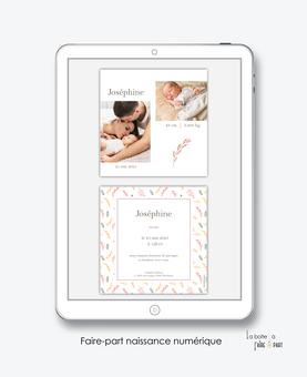 faire-part naissance fille numérique-faire part électronique-faire part numérique-pdf numérique-faire part connecté-faire part à imprimer-faire-part à envoyer par sms-mms-par mail-réseaux sociaux-whatsapp-facebook-photo-végétal-format carré-motif liberty