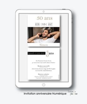 Invitation anniversaire homme numérique-Invitation électronique-Invitation digitale-imprimable-pdf numérique-Invitation connecté-Invitation anniversaire à envoyer par mms-par mail-réseaux sociaux-whatsapp-facebook-photo-noir et blanc