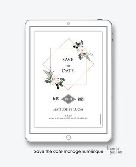 Save the date mariage numérique-Save the date mariage digital-Save the date numérique-pdf numérique-Save the date mariage electronique -Save the date à envoyer par mms-par mail-réseaux sociaux-whatsapp-facebook-messenger-Bouquet champêtre-fleurs-fougère
