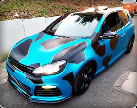 Vollfolierung plus Camouflage VW GOLF 6 3M Folie