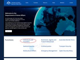 オーストラリア移民局公式サイト トップページ