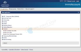 ImmiAccount ビザタイプ選択画面
