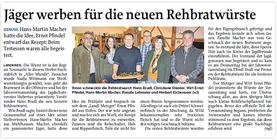 MZ-Artikel: Jäger werben für die neuen Rehbratwürste | 30.11.2013