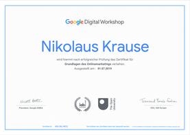 Google Zertifizierung im Onlinemarketing für Nikolaus Krause von Suburban Consulting