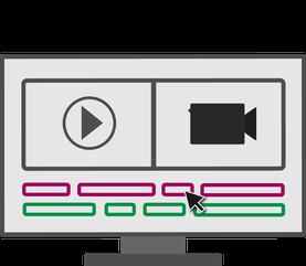 Illustration der Postproduktion. Ein Monitor auf dem ein Schnittprogramm zusehen ist.