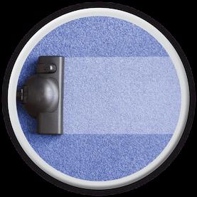 Runder Button verlinkt auf Reinigung und Pflege von Bodenbelägen..