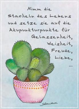 Postkarte, Stacheln des Lebens, Kaktus, www.silvanillion.de