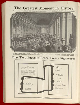 Die Unterzeichnungszeremonie in Versailles und die ersten zwei Seiten der Unterschriften und Siegel unter dem Vertrag
