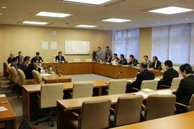 県庁からは、東京出張中で不在の謝花喜一郎知事公室長に代わり、池田竹州基地対策統括監が事実関係の説明に参加した=15日、県議会