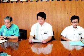 陸上自衛隊配備計画への協力を表明する中山市長=8月18日、市役所