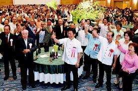 中山市長の3期目激励会が開かれた=1日、市内ホテル