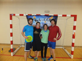 Die Münchner crew beim Frisbeer Cup. v.l.n.r.: Daniel Weinbuch, Anne Maier, Sophie Wolf, Toby Künzel