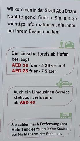 Hinweisschild am Taxistand