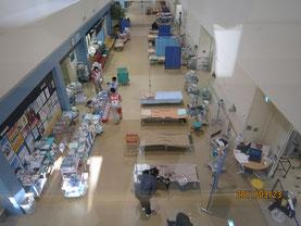 Ishinomaki Red Cross Hospital; the corridor was turned into an emergency room