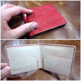 オーダーメイド「シンプルな折り財布(赤×ナチュラル)」愛知県名古屋市S様15047
