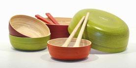plats ronds en bambou / gamme transparence Caneco
