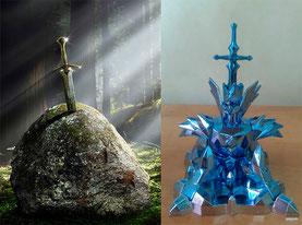 La legendaria espada Excalibur clavada en la piedra sirvió como inspiración para la forma Object del Robe de Odin.