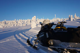 Snowmobiles in Swedish Lapland