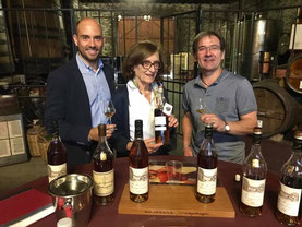 Françoise Dartigalongue, Benoit Hillion, and cellar master Ghislain Laffargue