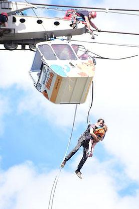 Höhenrettung beim Seilbahnunglück am 30.7.2017