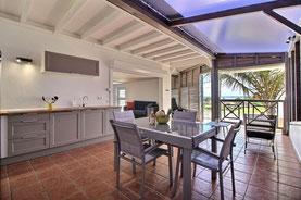 La vue de la cuisine de l'appartement Thomana en Guadeloupe