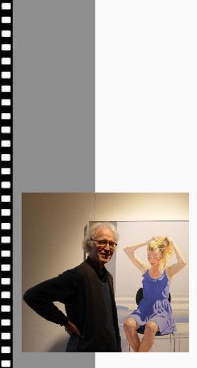 Kurt Haug vor seinem Werk Julia Kneise iV (2014) in der Ausstellung des Kunstverein Hochrhein Kulturhaus Villa Berberich Bad Säckingen