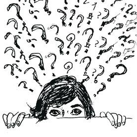 illustration de violaine kruch representant un personnage en questionnement de lui-meme