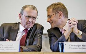 Regierungsrat Philippe Perrenoud und Regierungspräsident Christoph Neuhaus.