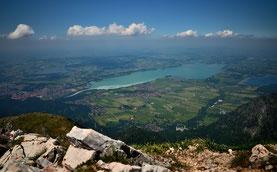 Alpen , Berge , Allgäu , Säuling , Alpenvorland , Panorama , Seen , Landschaft , Forgensee, Füssen , Wandern , Himmel , Wolken , Alps , Mountains , Germany , Lakes , Trekking