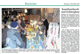 """Zeitungsbericht im """"Neuen Tag"""" am 02.12.2013 mit meinem Stand"""