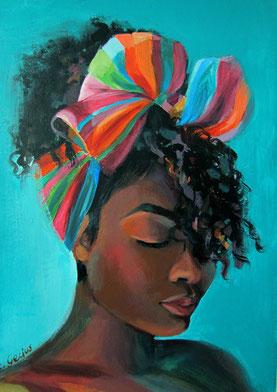 "Women painting ""Imani"" 30 x 40 cm (11,8 x 15,7 inches)"